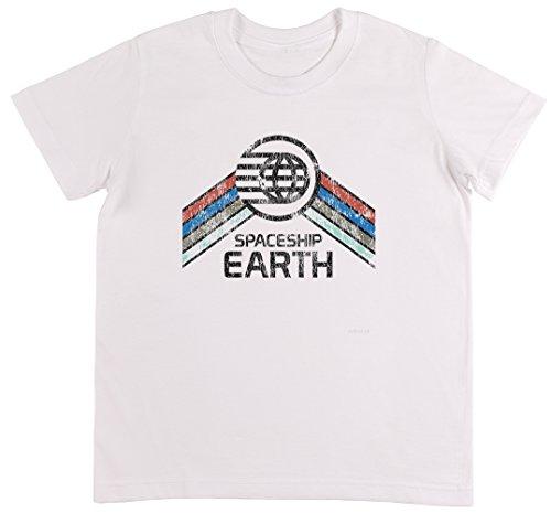 Vintage Spaceship Earth Weiß T-Shirt Jungen Mädchen Größe 3XS | Unisex Kids White T-Shirt Size 3XS -