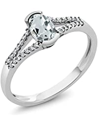 10K White Gold Women's Oval Sky Blue Aquamarine Diamond Ring (Size 5,6,7,8,9)
