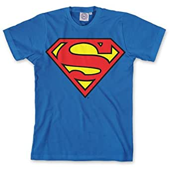 DC Comics Superman Classic Logo Men's T-Shirt Blue DC012M Medium