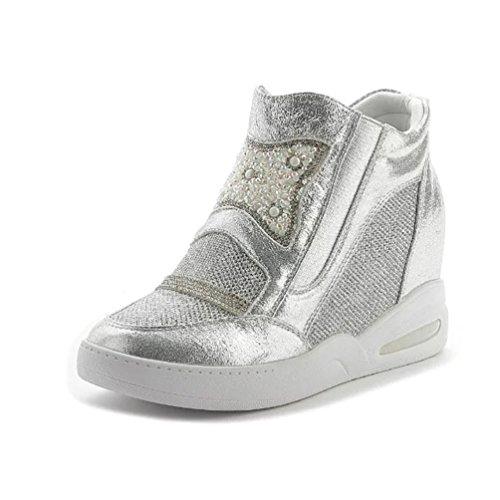 Sportliche Damen Sneaker-Wedges Zipper High Top Sneakers Keilabsatz Silber