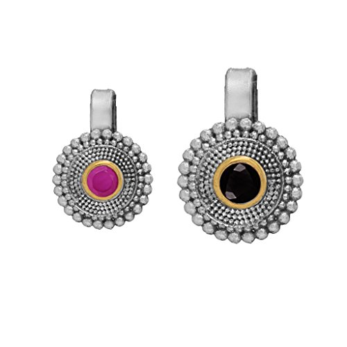 Fashion Honor Eid Pink & Black Silver Plated Nose Pin For Women(Combo)