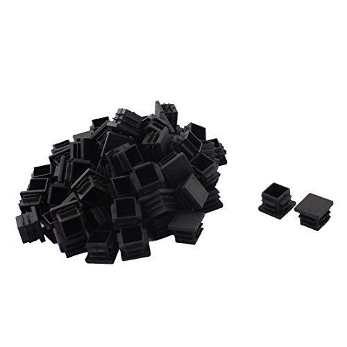 DealMux Plastique Meubles Canapé Pieds Protecter Tube carré Tuyau Inserts Caps 19 mm x 19 mm 80 pcs Noir