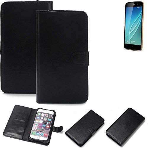 K-S-Trade Wallet Case Handyhülle Allview P6 Lite Schutz Hülle Smartphone Flip Cover Flipstyle Tasche Schutzhülle Flipcover Slim Bumper schwarz, 1x