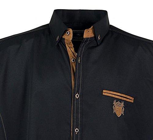 Übergrössen !!! Schickes Kurzam-Hemd LAVECCHIA 1128 in Schwarz, Weiß, Marineblau Schwarz