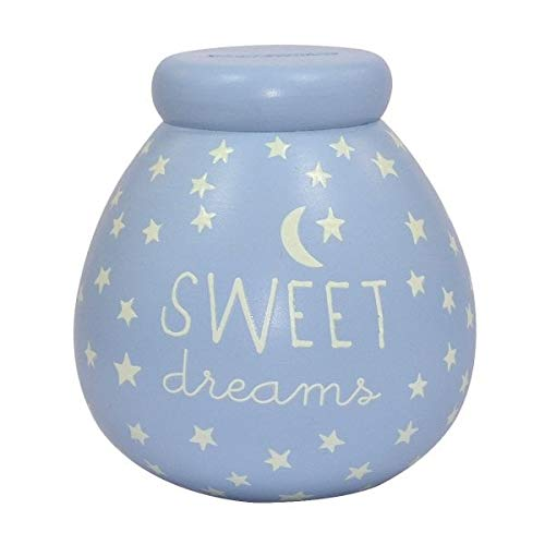 Glow In The Dark Small Blue Sweet Dreams Pots of Dreams Money Pot New Baby Gift