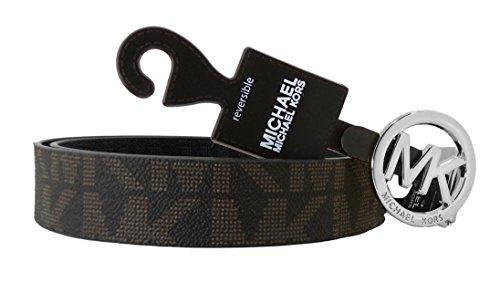 Michael Kors Gürtel Damen Wendegürtel *Reversible* schwarz oder braun 3 cm breit Silberne Schnalle, MK Logo eingeprägt