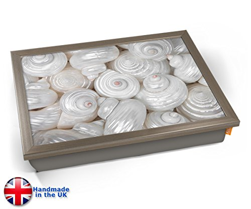 Sea Shells Macro White Cushion Lap Tray Kissen Tablett Knietablett Kissentablett - Chrome Effekt Rahmen