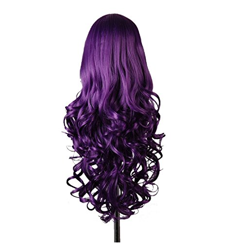 Vococal® 80 cm Fashion Cosplay Longue Perruque Cheveux Bouclés Extensions pour Masquerade Party Halloween Noël Violet