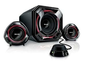 Philips SPA5300/05 Enceintes multimédia 2.1 Noir et rouge (Import Royaume Uni)