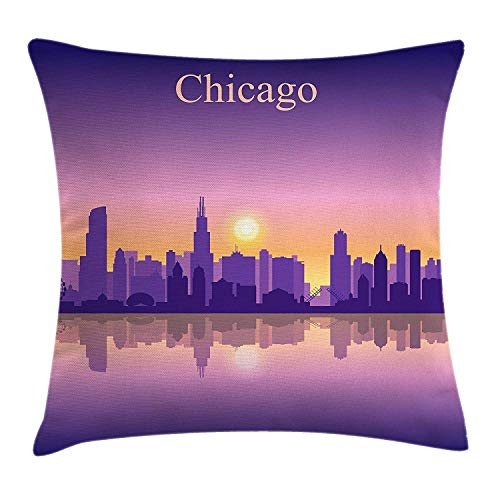 Trsdshorts Chicago Skyline Throw Pillow Cushion Cover, Sunset in Illinois American Horizon Behind High City Silhouettes, Decorative Square Accent Pillow Case, 18 X 18 Inches, Purple Apricot Pink Illinois Home Jersey