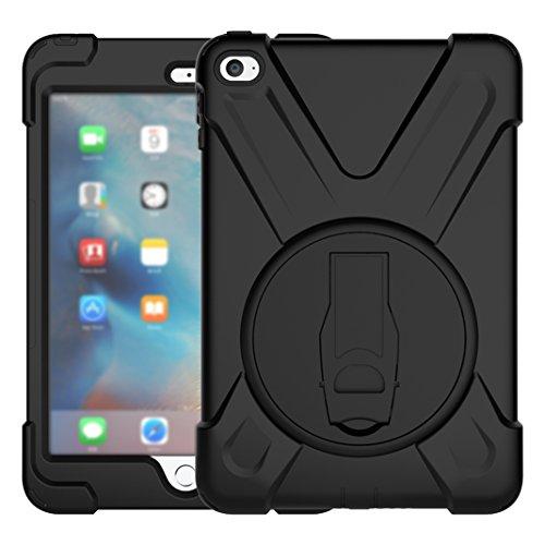 Preisvergleich Produktbild iPad Mini 4 Hülle, Asnlove 360 Grad Drehbare Robustes Kunststoff Hard Case mit Displayschutz - Ausklappbarer Standfuss für Apple iPad Mini 4 7.9 Zoll IOS 2015 Genaration Tablet - Schwarz