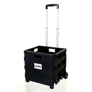 Caisse de rangement chariot pliable contenance 35kg avec roues en plastique pour camping-car ou voiture