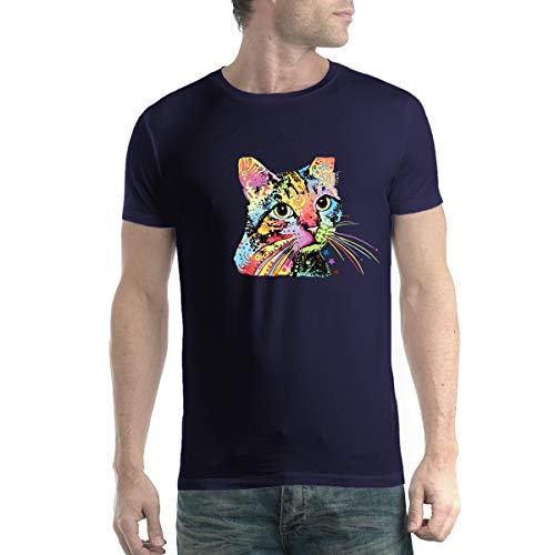 Dean Russo Katze Farbig Kubismus Herren T-Shirt Marineblau XS (Russo Katze Dean)