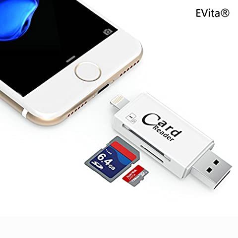 EVita Lightning auf SD Kartenleser, Lightning zu SD Card und TF Card Camera Reader Adapter mit USB 3.0/2.0 für iPhone 5/5S/SE/6/6S/6 Plus/7/7 Plus/iPad Mini/Air/Pro und Android Smartphone.