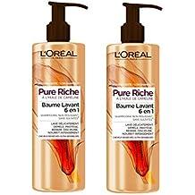 L'Oréal Paris puro bajo Rich Champú Cabello Cleansing Balm muy seco 400 ML - Lote de 2