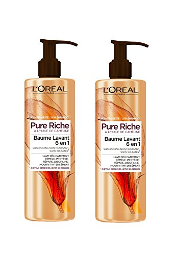 L'Oréal Paris Pure Riche Low Shampoo Baume Lavant Cheveux très secs 400 ML - Lot de 2