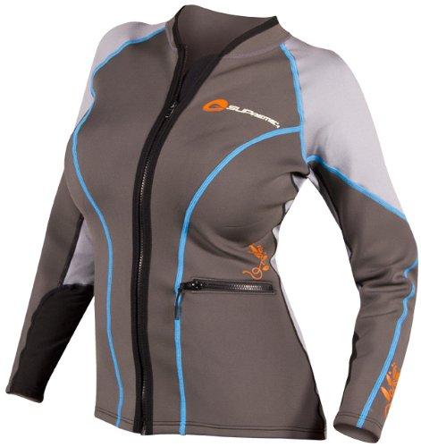 SUPreme Women's Catch 1.5mm Poly Hybrid Jacket, Light/Dark Gray, 12 - Standup Paddleboarding, Kayaking & Water Sports