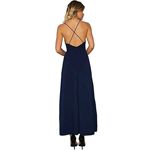 ROPALIA Damen Chiffon Stickerei Blumen Spaghetti Strap Split Lange Kleider Blue