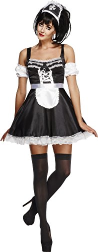 Fever Kollektion French Maid Kostüm mit Kleid Haarreifen und Ärmeln , (Maid French Halloween)