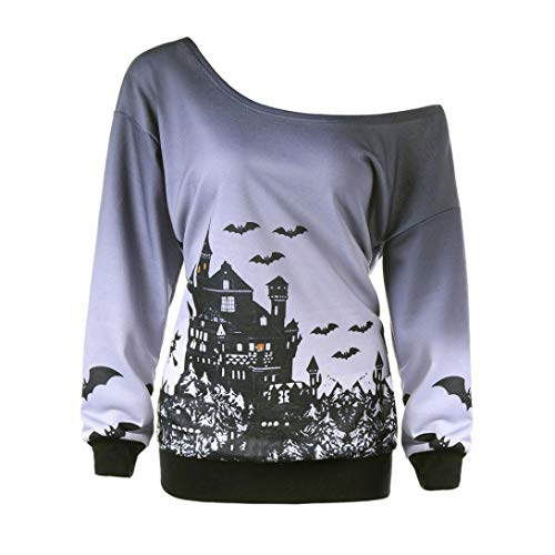 ZEZKT-Mode Halb Schulter Frauen Sweatshirt | Damen Halloween Hoodie Sweats | Party Karneval Oberbekleidung | Langarm Bat Druck Kostüm