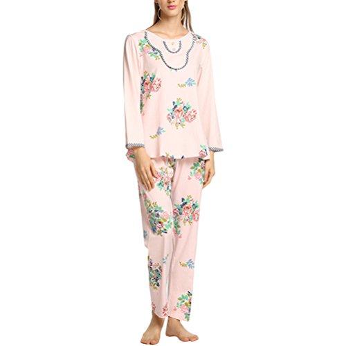 45b52108772f Zhuhaitf Damen 2 Stück Pyjama-Set Dehnbar Lange Ärmel Blumen Nachthemd  Nachtwäsche Mit Hosen für Damen