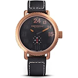 Chotovelli Vintage Pilot Men's Rose gold Watch Analogue display Black leather Strap 72.04