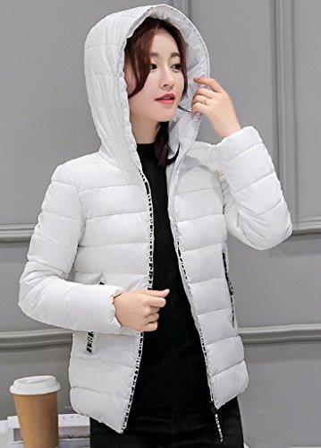 Smile YKK Blouson Court Femme Hiver Veste Matelassée Jacket Slim Manteau à Capuche Automne Blanc