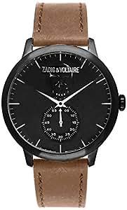Zadig & Voltaire - ZV 067/3AU - Synchro - Montre Mixte - Quartz Analogique - Cadran Noir - Bracelet Cuir Marron