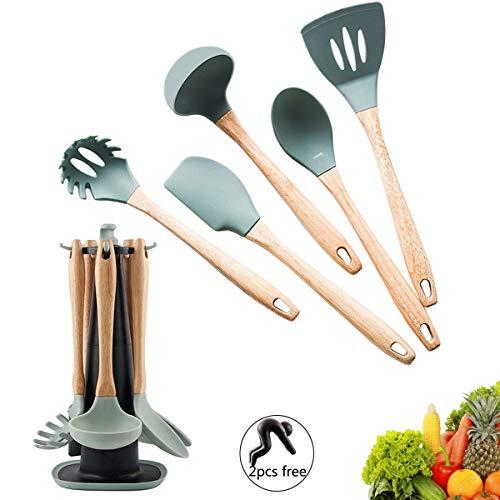 Set di utensili da cucina in silicone con manici in legno naturale, gadget da cucina, set regalo con supporto, blu