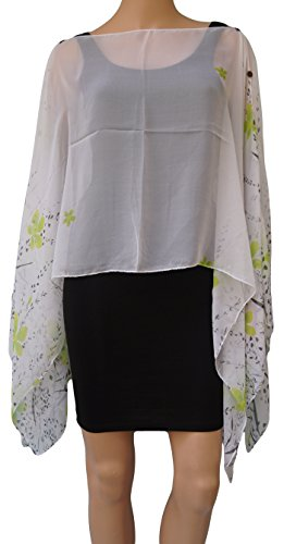 Damen Multiway Floral Print Chiffon Beach Kaftan Cover Up Poncho Grün