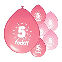 Partyangels 10 x 5TH BIRTHDAY GIRL / AGE 5 GIRL LIGHT PINK AND PINK MIX PACK BIRTHDAY BALLOONS