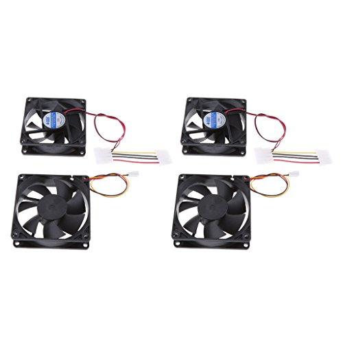 Dolity 80mm Tragbar CPU-Lüfter lärmarm Kühlventilator Kühlerlüfter für Desktop PC Laptop 12V DC 3-pol. bürstenlos Kühlventilator (4 Stück) (Notebook-cpu-lüfter)