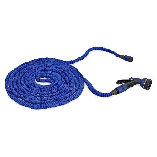 Relaxdays Flexibler Gartenschlauch 22,5m ausgedehnt mit Sprühpistole und 7 Funktionen, blau