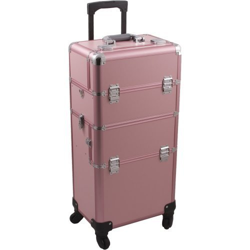 HIKER Makeup Rolling Case HK6501 2 in 1 Hair Stylist Orgainzer, 3 Slide and 1 Removable Tray, 4 Wheel Spinner, Locking with Mirror, Extra Lid and Shoulder Strap, Pink Matte by Hiker (Spinners Hair)
