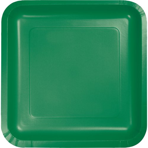 Touch of Color Square Paper Dinner Plates, Emerald Green, 18-Count Green Square Dinner Plate