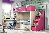 Hochbett Kinderzimmer Vita 48 Schreibtisch Platz sparend,Treppe mit Staurraum als Regalfach verwendbar, Platz für 2 Kinder, freie Farbwahl