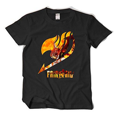 Fairy Tail T-Shirt Natsu Shirt Schwarz (Erza Fairy Tail Kostüm)