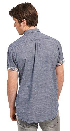 Tom Tailor Denim für Männer Shirt / Blouse Kurzarm-Hemd mit Brusttasche black iris blue