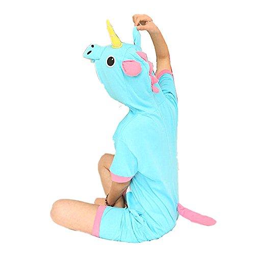 Kenmont Enfants Adulte Unisexe Animal Costume Cosplay Combinaison Licorne Pyjama Nuit Vêtements Soirée de Déguisement Blue Sommer Einhorn