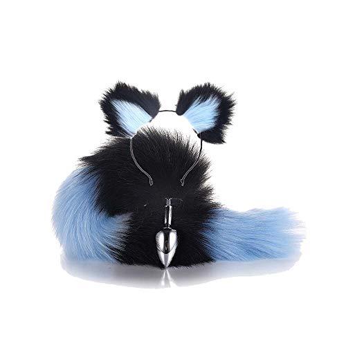 ieyol faux fox schwarz innen schwanz blau mit Ohrring romantisches Geschenk für Halloween S, 2,8cm
