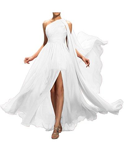Gorgeous Bride Beliebt Ein-Träger A-Linie Chiffon Abendkleider Lang Cocktailkleider Ballkleider Weiß