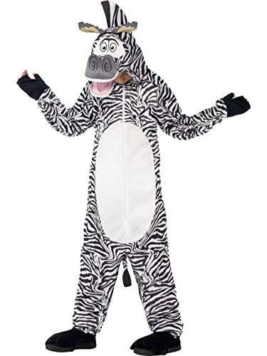 Luxuspiraten - Kinder Jungen Mädchen Kostüm Plüsch Madagaskar Marty, Madagascar Zebra Fell Einteiler Onesie Overall Jumpsuit, perfekt für Karneval, Fasching und Fastnacht, 122-134, - Marty Das Zebra Kind Kostüm