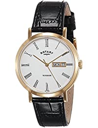 Rotary GS05303/01 Windsor Gold Plated Black Leather Strap Watch Wrist Band Men