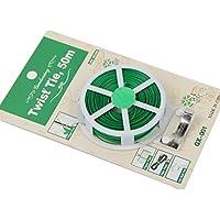 Xiton 1 Rollo jardín Planta Twist Tie Multi-función Robusto Alambre Recubierto de plástico con Corte jardinería abRochar Cables Verde (50 Metros)