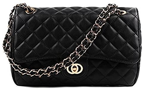 Gossip Girl - Ladies Medium Quilted Padded Gold Chain Shoulder Bag (6020 Black)