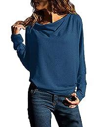 SANFASHION Sweat Col Bateau Tops Femme Pull Simple Manche Longue Casaul  Shirt Élégant ... c2e2116d4a8c