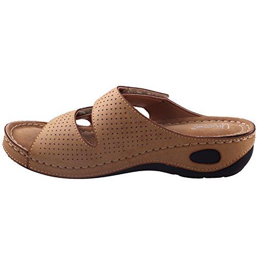 Unze Womens ' Nuby ' pantofole comode per camminare Beige