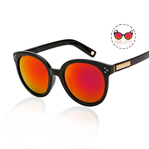SUNGLASSES Sonnenbrille Brille Brille transparent Große Rahmen-Reflektierende Objektiv Avantgarde - B