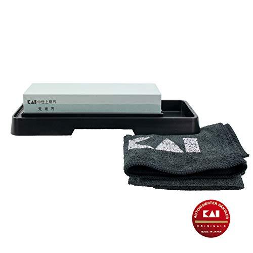 Kai Geschenkset Kombinations- Wetzstein/Schleifstein Messerschärfer, zur Pflege von Japan Shun Messer, Edelstahl, AP-0305, 400/1000 Körnung+ hochwertigem Poliertuch