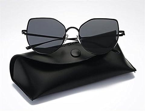 JJH-ENTER Des lunettes de soleil mode Branché métal Film couleur des lunettes de soleil , black grey